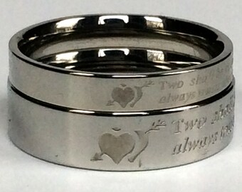His and Her Rings, Heart Puzzle Ring, Custom Ring, Personalized Ring, Titanium Ring, Couples Ring, Couple Ring, Couples Rings, Couple Rings