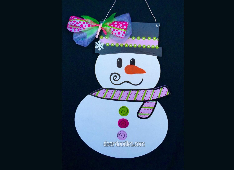 snowman with pink green matching scarf bow door hanger door doodles winter door hang hanging