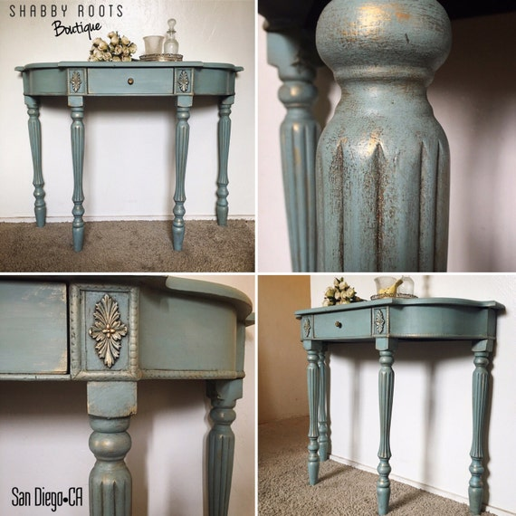 Gold Shabby Chic Coffee Table: Items Similar To SOLD- Gorgeous Duck Egg Blue Gold Shabby