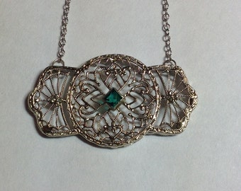 Vintage Art Deco 10k White Gold Filigree Pendant with Synthetic Emerald