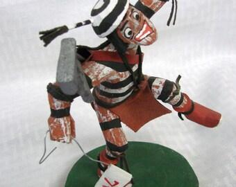 Hopi Kachina Doll - Koshari Kachina - Golfer Figurine - Pueblo Clown Kachina