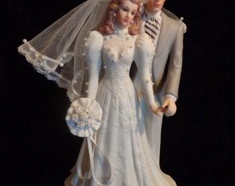 Bride and Groom Music, Fine Porcelain Bride and Grroom Figurine Music Box, Cake Topper, Wedding March, Sankyo music Box