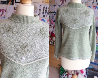 Cute beading granny green jumper sweater vintage dolly lolita victorian edwardian beads