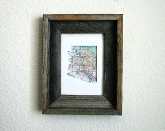 State Outline Map Print. Rustic Frame. Home Decor. Wall Decor. Wall Art. Nursery.