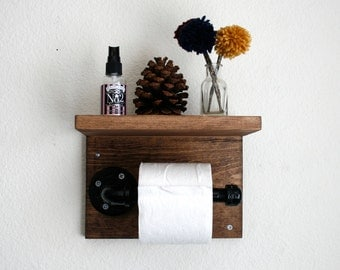 Wood Industrial Pipe Toilet Paper Holder w/ Shelf. Home. Bathroom. Rustic. Shabby Chic.