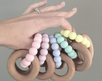 SCANDI Silicone + Beech | Baby Rattle Teether | Teething Toy | Baby Gift