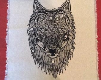 Crystal - Grid - Wolf - Guide - linen - sacred geometry - altar - table runner - feng shui - animal - tarot - display