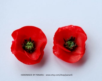 Red Poppy earrings Floral studs Red earrings Poppies studs by panarili Perfect gift for her Poppy jewelry Silver stud special gift for her