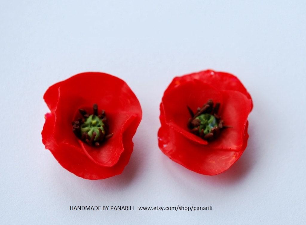 poppy earrings floral studs earrings poppies studs by