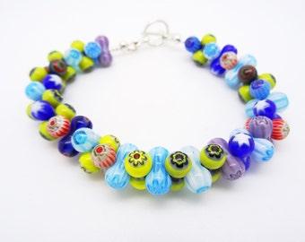Millefiori Bracelet,  murano glass bracelet, ladies bracelet, peanut beads bracelet, multicolour bracelet, yellow bracelet, blue bracelet.