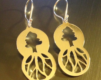 Two Circles Evergreen Tree Earrings