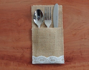 6 Burlap / Hessian and ivory lace cutlery holder