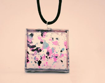 Pink Blue, Black & White Melted Crayon Glass Pendant