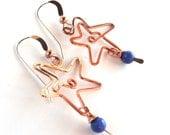 Copper Star Earrings with Blue Sodalite Stone, Dangle Earrings with Copper Wire Work Stars, Blue Stone, Holiday Star, Gift for Her, Handmade