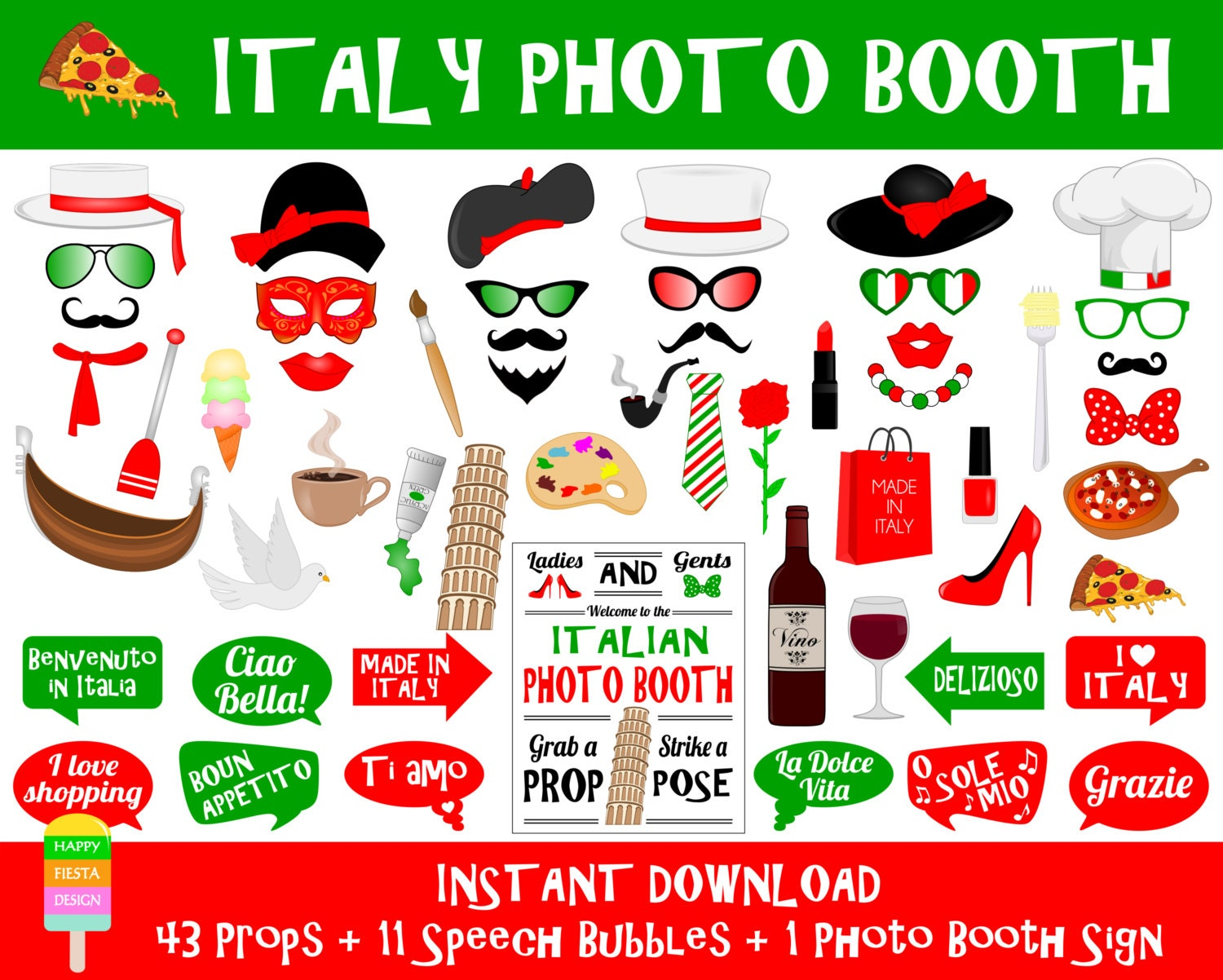 Printable italy photo booth propsitaly travel props photo for Italian party