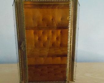 GORGEOUS RARE huge amber glass VITRINE jewelry casket vanity box
