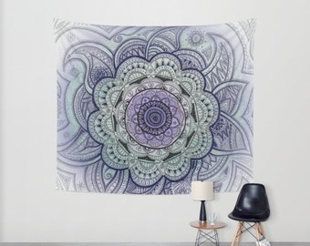 Wall tapestry, Mandala, Mandala drawing, Purple Mandala, Original drawing, Wall decor, Mandala tapestry, statement decor, dreamy, hangings
