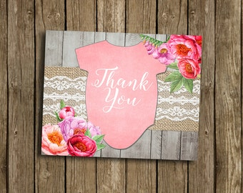 Girl Baby Shower Thank You Card Pink Floral Flowers Watercolor Peony Lace Burlap Wood Rustic Gray Rustic Printable Digital File Download
