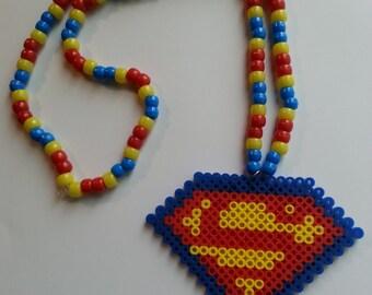 Superman Kandi Necklace//Kandi Necklace//Superman//