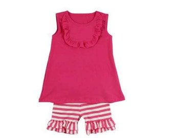 Dark pink Tank/short outfit  Size 7(6-7year)