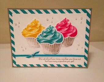 Stampin up Sweet Cupcake Trio of Cupcakes Birthday card