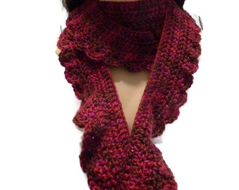 Crochet Scarf, Burgundy Variegated Scarf, Handmade Winter Scarf, Women Winter Scarf