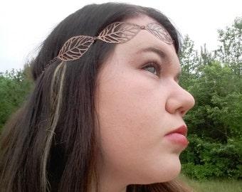 Copper Leaf Headband, Leaf Crown, Goddess Headband, Metal Headband, Boho Headband, Chain Headband, Bohemian Headband, Handmade Jewelry