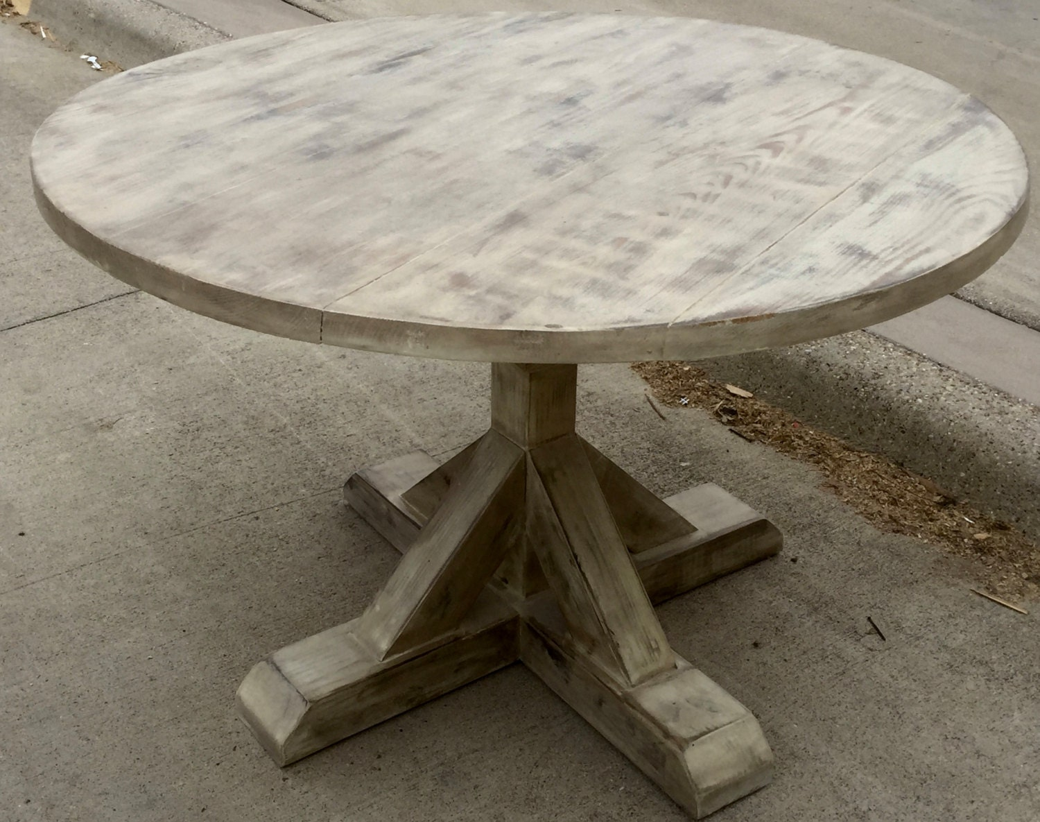 All Distressed White Round Trestle Table