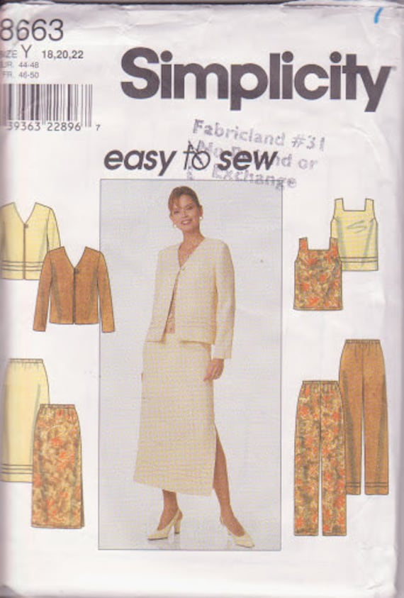 Simplicity 8663, Easy Sew, Jacket V Neck, Pullover Top, Pants Straight leg, Skirt Mid Calf, Four Piece, Mix and Match, Sizes 18 20 22