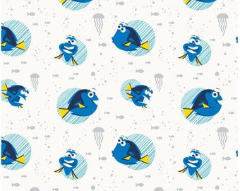 Disney Pixar Finding Dory Fabric White Faces  - 10 INCHES End of Bolt Finding Dory By Camelot Fabrics