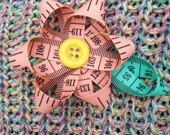 Pink Tape Measure Daisy Brooch or Bag Decoration