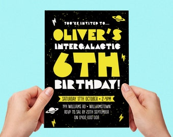 Space Birthday Invite Outta Space Intergalactic Boys Party Kids Party Out of Space Printable Invitation Personalised Custom Personalized