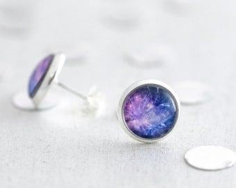 Purple studs, Stud Earrings, Fireworks Jewelry, Indigo Earrings, Purple Earrings, Gift for Her, Celebration Gift, Silver Studs, Glass Studs