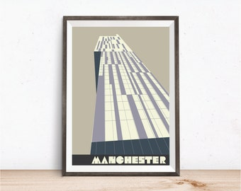 Manchester Beetham Tower in Latte, Manchester Hilton Hotel Print, A4, 8x10 inch print, Manchester Poster, Manchester Art Print