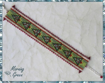 Christmas Tree Peyote Bracelet, Red, Green, Silver Delica Seed Bead Bracelet