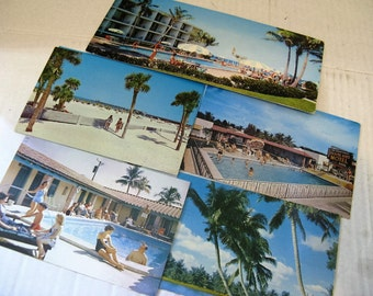 Vintage 1950's/60's Postcards of Florida, Palm Trees, Pool Side, Beach Scene, etc. Great Vintage Bathing Suits! 5 Cards