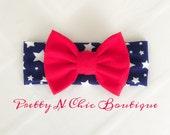 Patriotic Bow Headwrap - Star headband
