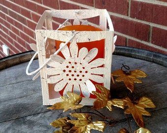 Fall decor... metal lantern, with glass globe, and sunflowers.  FREE SHIPPING! Item# 911162