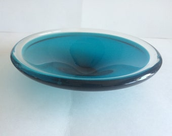 Murano Turquoise Encased in Clear Art Glass Bowl possibly by Flavio Poli for Seguso