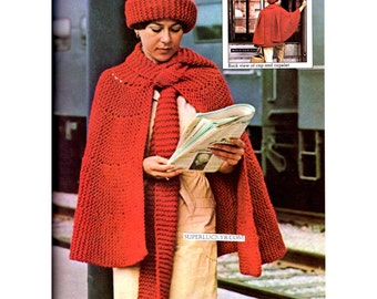 Vintage Cape Poncho  knitting pattern in instant download version