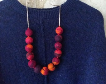 Felt Wool Necklace.Felt necklace.Orange.Pink.Violet.Wood.Natural Necklace.