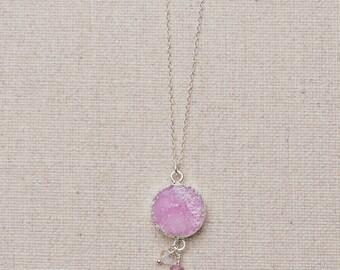 Pink Druzy Necklace/Blush Pink Druzy pendant with dangles/Pink Druzy Pendant