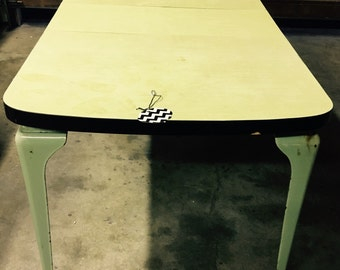 Vintage  Formica Table with Enamel Legs and One Leaf