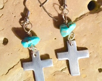Silvertone Cross Earrings with Turquoise Magnesite Accents