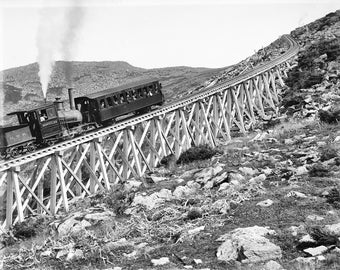 Steam locomotive on Jacobs Ladder trestle Mount Washington Cog Railway New Hampshire copy of vintage photograph c1900