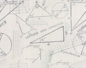 15% OFF/LOW SHIPPING Modern Background Fabric from Zen Chic for Moda Fabrics. Graphite on Grey Fog Math Metrics
