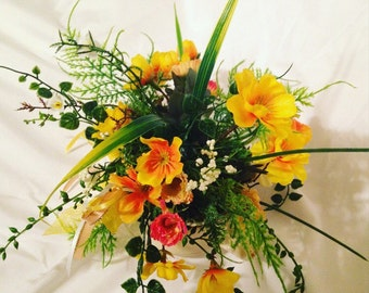Tea Cup Yellow Flower Arrangment, Centerpiece - Spring in a Cup