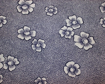 Sweet 60s vintage retro floral Fabric in blue and white. Made in Sweden Scandinavian.