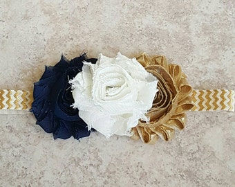 Triple Flower Headband - Navy and Gold Baby Headband - Toddler Headband - Ivory Headband - Navy Blue Headband - Newborn Headbands - Hair Bow