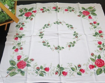 Vintage Floral Table Cloth Red Roses Square Table Cloth #2-11